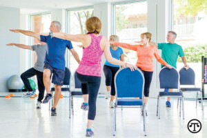 An exercise class can be a great place for older adults to make new friends.