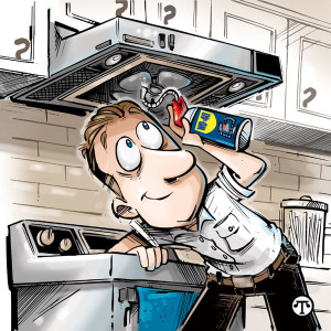 Lubricate the exhaust fan above the kitchen stove with WD-40 EZ-REACH.